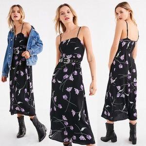 Kimchi Blue Black Motif Floral Midi Dress
